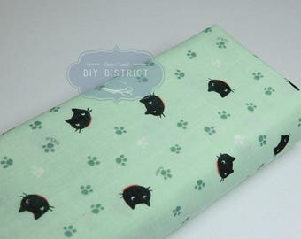 Fabric cat green Japanese double gauze