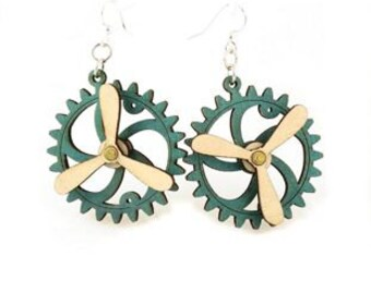 Spinning Propeller Gear Earrings - Laser Cut from Reforested Wood #5006G