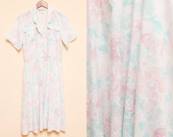 Pastel Floral Dress // White Shirt Dress // 1980s Collared Breast Pocket Linen Hipster Retro Dress Size Medium