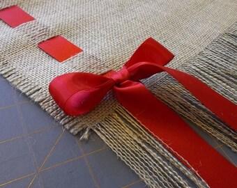 Premium Natural Burlap Table Runner with Satin Ribbon and Fringe