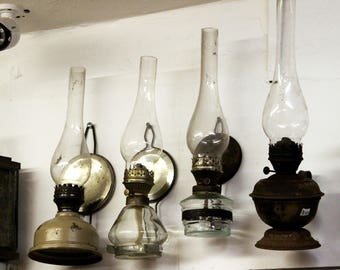 Wall Mounted Vintage Oil Lamp Old Kerosene Lantern Antique Oil Lamp Glass Kerosene  Lamp Farmhouse Country