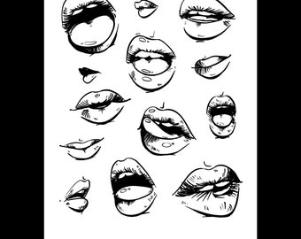 Mouth Studies / Art Illustration Print