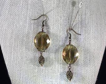 Bohemian Vintage  Golden Crystal Earrings