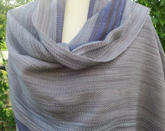 Handwoven Shawl, Woven Shawl, Handwoven Scarf, Blue Striped Shawl, Hand Dyed Shawl