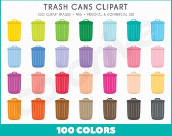 Trash Can clipart 100 rainbow colors garbage cans container recycling png illustration planner stickers clip art set