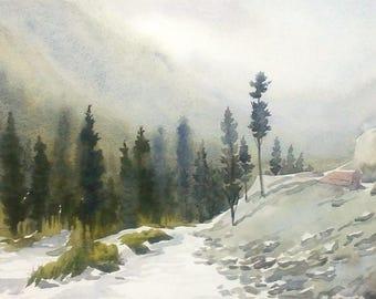 Beauty of Himalaya Mountain- Original watercolor painting on paper