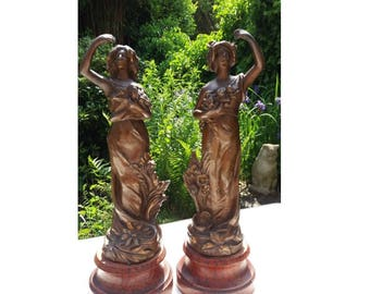 Antique Pair of French Female Figurines / Statuettes, Art Nouveau