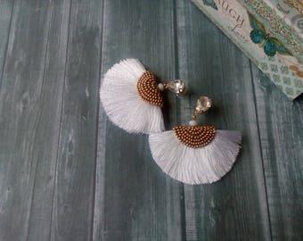 Fan silk earrings Half covered bead earrings Crystal drop tassels  Fan of gold beads White earrings Post fashion earrings Gift for women