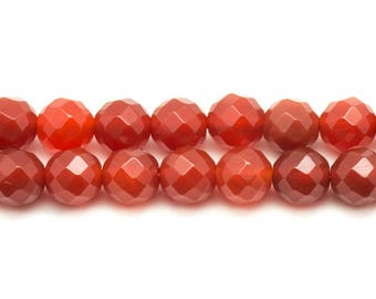 5pc - stone beads - carnelian faceted balls 10mm 4558550023551
