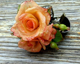 bracelet polymer clay bracelet handmade bracelet with rose flowers polymer clay rose, cold porcelain,jewelry cold porcelain,leather bracelet