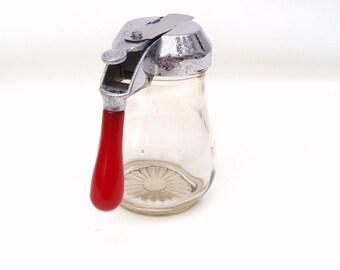 Vintage Syrup Pitcher | Red Bakelite | Syrup Dispenser | Honey Jar | Glass Cream Pitcher | Glass Dispenser | Syrup Jar