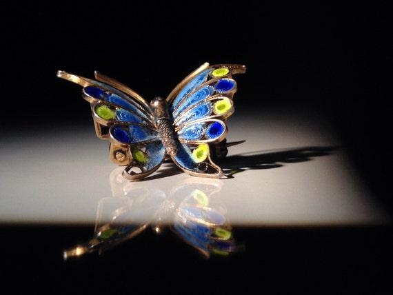 Antique Italian 800 Silver Enamel Butterfly Brooch