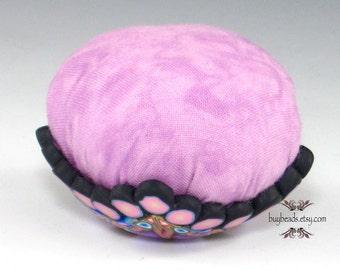 Polymer Clay Pincushion, Handmade, Pale Pink, Purple, Cornflower Blue, White, Black