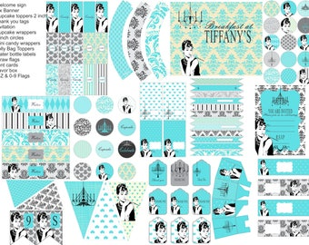 Breakfast at Tiffany's party printables, Audrey Hepburn Party decorations, everything you need for your Breakfast at Tiffanys party