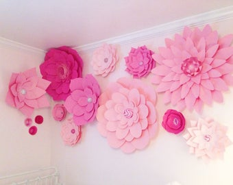 Set of 14 Large Paper Flowers - Paper Flower Wall | Paper Flower Backdrop | Baby Nursery | Home Decor | Wedding Backdrop | Little Girls Room