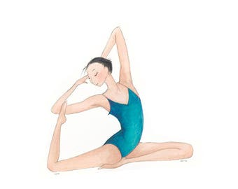 Yoga Art-Tullia-Giclee Print of Original Illustration-Girl Woman-Dark Hair-Teal-Yoga Pose Posture Meditation-Watercolor-WallArt-Gift