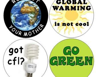 Go Green pinback buttons set