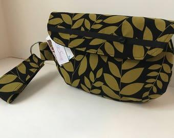 Black Fabric Wristlet, Fabric Wristlet, IPhone Wristlet, Zippered Wristlet, Cell Phone Wristlet, Emma Bag