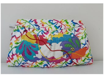 Vintage Carlo Fiori Leather Handbag Multicolor Boho Shoulder Crossbody Bag. Great Vintage condition.
