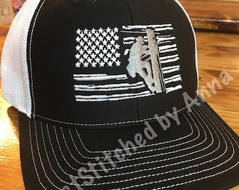Black and white Lineman hat, US flag with lineman trucket hat