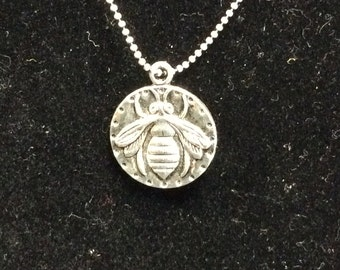 Honey Bee Coin Pendant Necklace, Gift under 20, Perfect for beekeeper gifts, Gifts for her, Christmas, Birthday or Anniversary gifts,