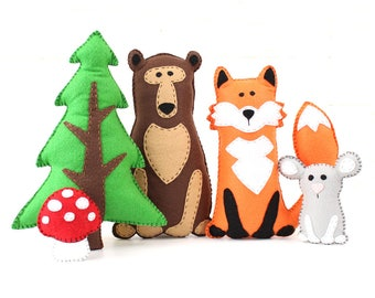 Woodland Stuffed Animal Patterns, Easy Hand Sewing Patterns for Felt Forest Animals, Fox, Bear, Mouse, Pine Tree, & Mushroom, PDF Download