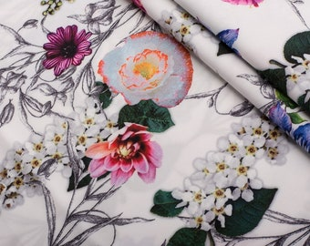 Floral  Silk, Crepe Silk fabric, silk for dress, silk for tunic, buy Yard, silk for clothing-1 / yard