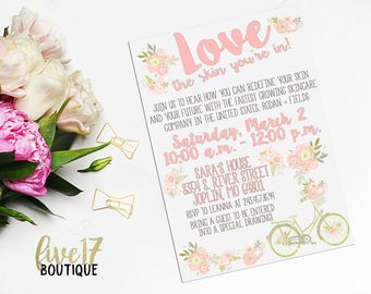 Rodan and Fields Invitation   Spring   Floral   Love the Skin You're In   Bike   Personalized   Digital