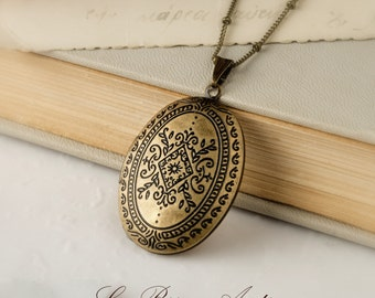 Victorian Locket necklace in antique bronze morocco inspired christmas gift for her xmas romantic rustic