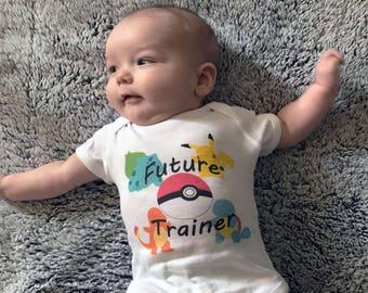 Pokemon Baby Onesie/Future Trainer/Charmander/Squirtle/Bulbasaur/Pikachu/Pokeball/Nintendo/Video Game/Baby Bodysuit/Clothing/Gerber Onesie