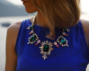 ULTIMATE SALE Sugar Plum Fairy - Candy Colour Swarovski Crystals Statement Necklace - Ready to Ship