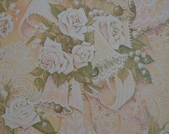 Vintage 1980s Wedding Gift Wrap Paper White Roses & Lace Wrapping Paper 1 Sheet