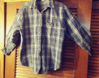 90s Cotton Grunge Style Flannel by Punch/Grunge Flannel/Vintage Flannel/Blue Flannel/Nepal Flannel/Punch