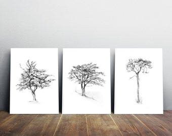 Tree art - set of 3 Giclee print - Tree drawing - Wall Decor - Tree illustration - zen drawing - tree image tree sketch Michelle Dujardin