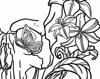 Skull and Lilies Coloring Page