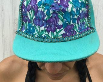 Lily print on teal.