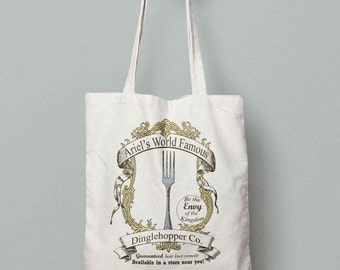 The Little Mermaid, World Famous Dinglehopper AD, The Little Mermiad Canvas Tote, Disney Bag