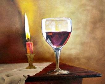 Oil painting, oil painting, oil painting, wall painting, decoration, title candle, artist: Birgithell