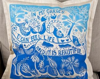 linocut, decorative pillow cover, In my Garden, Inspirational art, handmade cushion cover, hand printed, printmaking, sofa cushion, cover