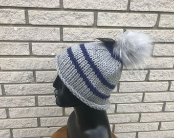 Handknit Beanie | Slouchy Hat with Fur Pom Pom | Winter Hat | Winter Accessory | Gift Ideas | Holiday Gift