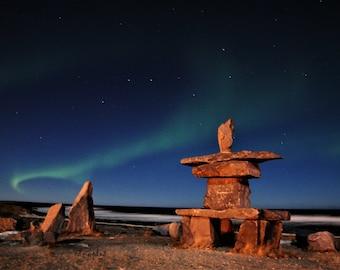 Inukshuk, Northern Lights, Arctic Lights, Aurora Photography, Photo Print, Aurora Borealis, Big Dipper, Night Photography