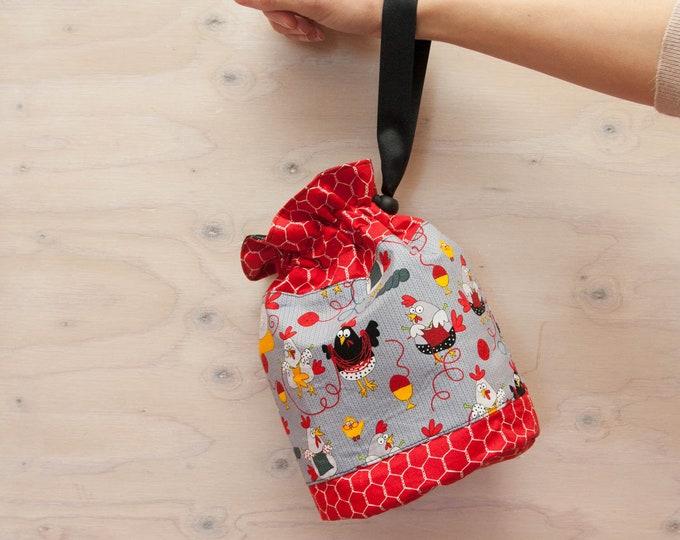 Knitting project bag, chicken bag, red bag, crochet bag, wrist strap, drawstring bag, project bag, gift for knitters, craft bag