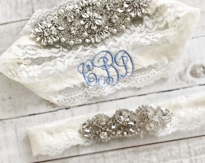 Monogram Wedding garter, embroidered bridal garter, something blue, custom wedding garters IVORY AO1S-A*O2S