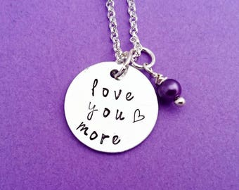 love you more necklace, gift for her, anniversary gift, bangle necklace, girlfriend gift, wife gift, i love you necklace, i love you more