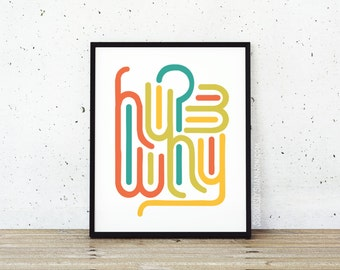 "Abstract Print, Typography Wall Art, Colorful Home Decor, ""Why?"""