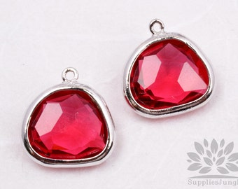 F119-02-S-RB // Silver Framed Ruby Glass Stone Pendant, 2Pcs