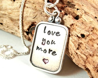 I love You More necklace - Hand stamped necklace - Personalized necklace - Wife gift - Valentines for wife