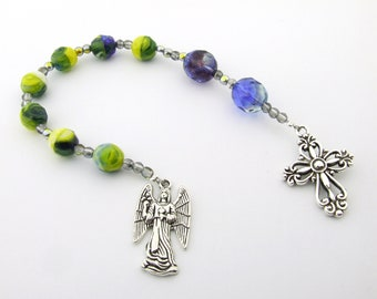 Anglican Rosary Beads - Multicolor Blue Yellow Anglican Prayer Beads - Angel Pocket Rosary - Protestant Prayer Beads - Christian Gift