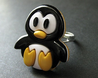 Penguin Ring. Bird Ring. Black and White Ring. Cartoon Penguin Ring. Kawaii Ring. Silver Ring. Adjustable Ring. Handmade Jewelry.