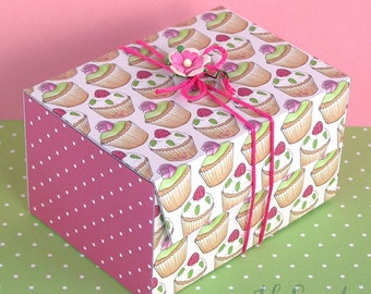 Printable Gift Boxes 'cupcakes and roses' design, 2 templates to print and make, favor box, floral rose, Digital Instant Download - B1007